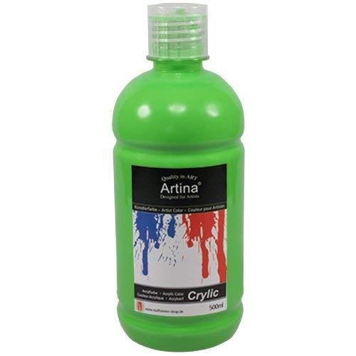 Artina Crylic Acrylfarben - hochwertige Künstler-Malfarbe in 500 ml Flaschen in Hellgrün & weitere Farben - Flasche Hellgrün