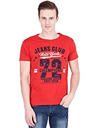 American-Elm Men's Cotton Round Neck Printed T-shirt- Red