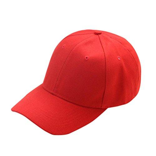 Jintime Sommer Sonnenschutz Hut Kappe Kinder Teenager Baseball Cap Reine Farbe Kinder Hut Jungen Mädchen Hüte Caps (Red)