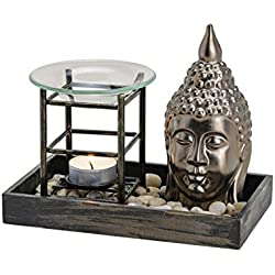 Principal–Lámpara aromática Buda, varios materiales, cabeza del buddahs estilo zen garden, dura, tamaño: longitud x profundidad x altura = 19x 11x 12cm