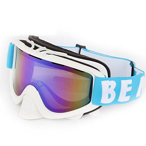 Skifahren Goggle Outdoor Herren Frauen Abnehmbare Dual Layer Double Lens Anti-Fog Ski Eyewear Sonnenbrille Snowboard verspiegelt SKIBRILLE, weiß