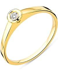 Miore Damen Gelbgold Diamant Solitär Verlobungsring 14KT (585), Brillant 0.05 ct