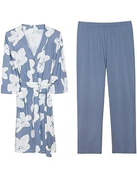 Mangeoo Ultra Fino Pijama Verano Femenino Fino algodón Hombre Modle Alto Grado Ropa de hogar Robe Conjunto Verano...