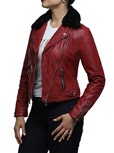 Brandslock Damen Echtes Leder Ausgestattet Biker Jacke (Small, Rot) - 5