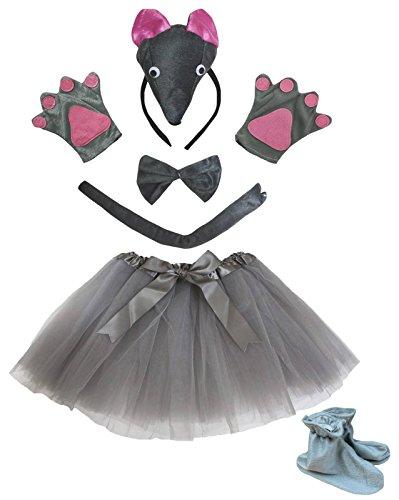 Petitebelle 3D-Stirnband Bowtie Schwanz Handschuhe Rock Schuhe 6pc Mädchen-Kostüm Einheitsgröße 3d graue Maus (Mädchen Graue Maus Kostüm)