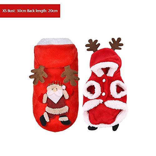 Allowevt Santa Elch Hund Kostüm Haustier Hoodie Jacke Weihnachten Haustier Hoodie Mantel KleidungLustig Hund Haustier Kleidung Winter Herbst Fit für Hündchen Teddy Chihuahua Yorkshire Pudel Amiable
