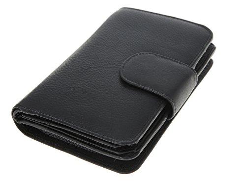 COLORI XL große Damen Ledergeldbörse Damenbörse Börse Geldbeutel Leder 12 Kartenfächer SCHWARZ