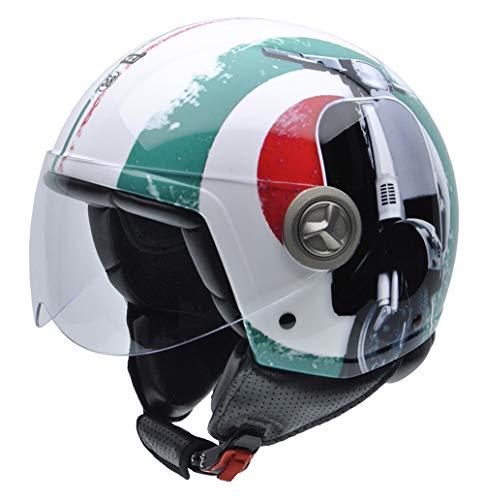NZI 490004G341 Zeta Graphics Super Cinquantotto, Casco da Moto, Bandiera Italiana e Dettaglio di Moto, Rosso/Bianco/Verde, Taglia S