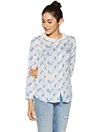 Stylevile Women's Printed Shirt with Lace Collar