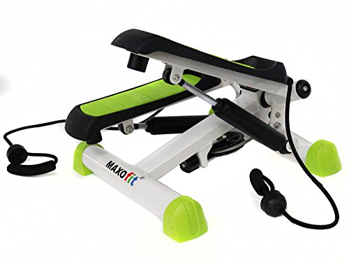 MAXOfit® Swing Stepper MF-11 | Fitness Home-Stepper, Ministepper mit Trainingsbändern | Twister Up-Down-Stepper inklusive Trainingscomputer für Zuhause | Mini Hometrainer für Anfänger & Fortgeschrittene
