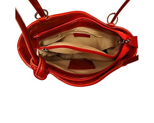Florence Leather zaino borsa, Black & Brown (multicolore) - 207 Red