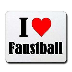 Gaming Mauspad I Love Faustball in Weiss, eine tolle Geschenkidee die von...