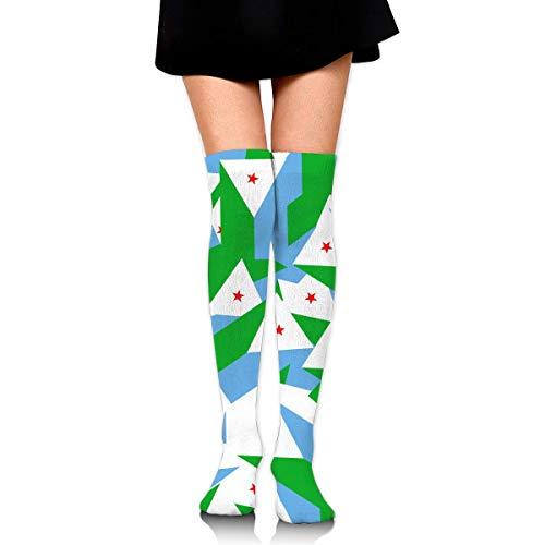 Bgejkos Knee High Socks Originality Djibouti Long Socks Boot Stocking Compression Socks for Women -