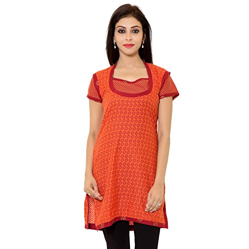 Naksh Jaipur Straight Red Cotton Floral Print Casual Kurti for women  available at amazon for Rs.146