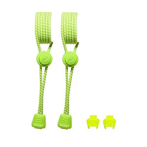 SCHNÜRRLIE Elastische Sport Schnürsenkel mit Schnellverschluss | Flexible Reflektierende Bänder Schnellschnürsystem Schuhe | 1 Paar Gelb