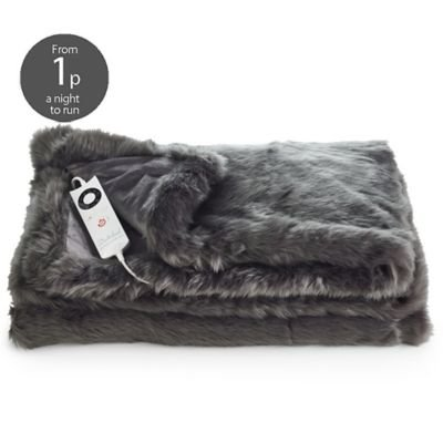 Dreamland Relaxwell Deluxe Washable Fast Heat Electric Throw Large Size 120 x 160 cm, Front faux fur acrylic, Micro mink side = 100% polyester, Slate Grey, Single Best Price and Cheapest