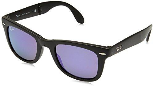 Ray-Ban Unisex Sonnenbrille RB4105, Einfarbig, 50 mm, Schwarz (schwarz/ gespiegelt lila)