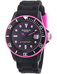 MADISON NEW YORK Unisex-Armbanduhr Candy Time Black Line Neon Analog Quarz Silikon U4485-40/1