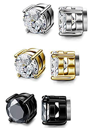 Milacolato 3 Paare Edelstahl Magnet Ohrringe für Herren Damen Mädchen CZ Ohrstecker Non Piercing Clips 5-10 MM