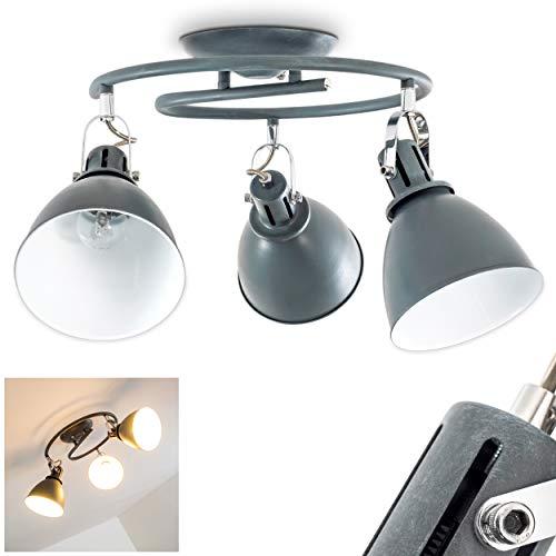Deckenleuchte Koppom, runde Deckenlampe aus Metall in Grau