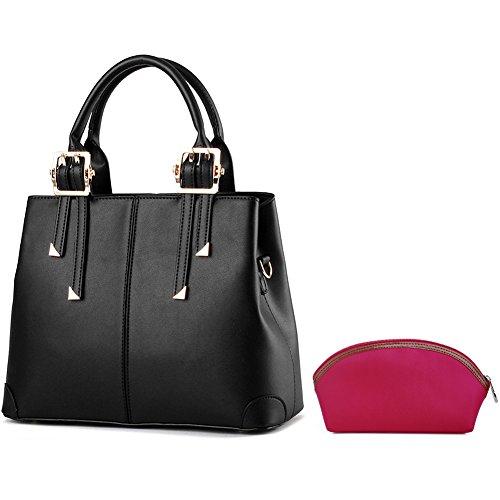 handtasche damen,Schultertasche leder tasche damen von SPSHENG 2-Black