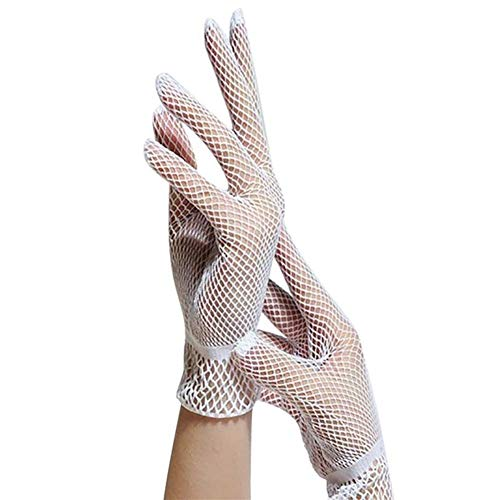 Kostüm Tanz Militär - YANODA Frauen-Sommer-UV-Beweis, Der Tanz-Kostüm-Spitze-Handschuh-Ineinander Greifen-Fischnetz-Handschuhe Fährt Nette Patchwork-Handschuhe Guantes (Color : White, Gloves Size : One Size)