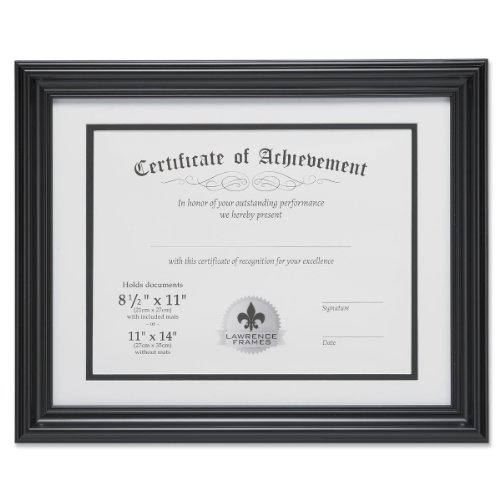 Lawrence Frames Dual Use 11 by 14-Inch Certificate Picture Frame with Double Bevel Cut Matting for 8.5 by 11-Inch Document, Black (Dual-zertifikat Frame)