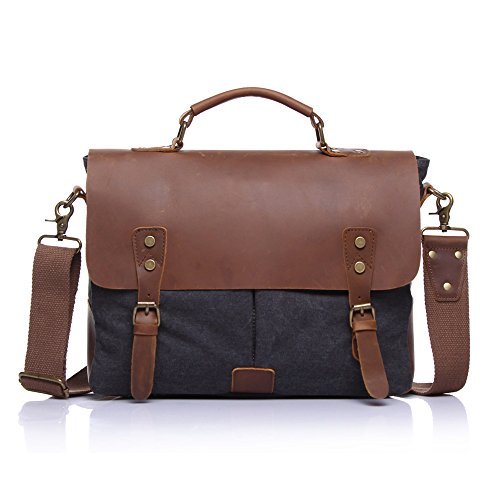 boshiho® da uomo in tela e pelle Flap-Over cartella vintage borsa Messenger per Laptop da 14, Dark Gray (kaki) - BOSHIHO-CANVAS-MASSENGER BAG-101