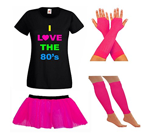 I Love the 80's Costume Set for Ladies. T-shirt, Skirt, Fishnet Gloves and Leg Warmers.