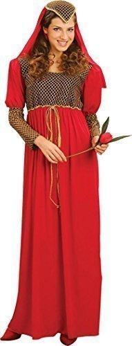 rty Mittelalterliche Maid Kostüm Lady Marian Juliet Kleid + Kopfbedeckung - Rot, Rot, UK Plus Size (Plus Size Mittelalterlichen Kleid)