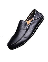 Mocasines Casuales de Cuero Genuino para Hombres Zapatos angostos con Punta  Redonda Azul Marino ee86671f415a