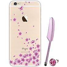 iPhone 6S Funda de Goma, vioela bonito Vintage Rosa Blanco Y Amarillo Rose Impresión Ultra Thin goma suave silicona TPU–Funda protectora para Apple iPhone 6/6S de 4,7pulgadas incluye lápiz capacitivo), compatible con Apple iPhone 6