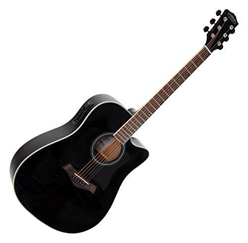 Classic Cantabile WS-20 BKEQ Dreadnought Westerngitarre - Akustikgitarre mit Stahlsaiten - Gitarre mit Tonabnehmer und 3-Band Equalizer - Geschlossene und Gummierte Chrom-Mechaniken - Schwarz