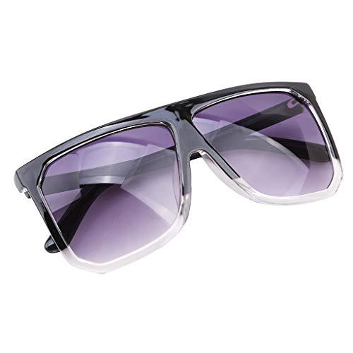 SEVENHOPE Big-Square Frame Sonnenbrille Einfache Polarisierte Sonnenbrille Big Round Face Square Face Sonnenbrille (Halb schwarz)