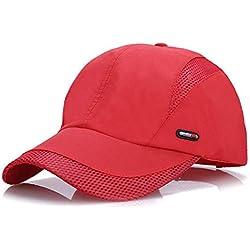 LAOWWO Sombrero de Gorra de Béisbol, Secado Rápido Delgado Gorra de Running Golf Deportes Gorros para El Sol para Hombres Mujeres (Red)