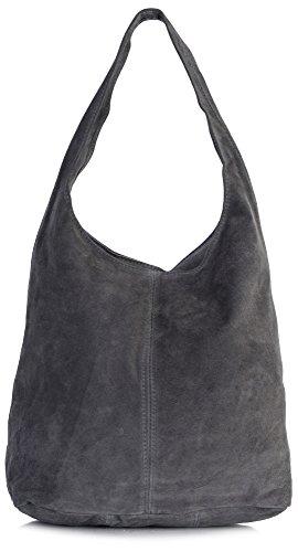 Designer Inspiriert Wildleder Handtasche (LIATALIA - Große Shopper/Slouch Schultertasche mit Sternen im echtes italienisches Veloursleder - 'Shay'(Dunkelgrau))