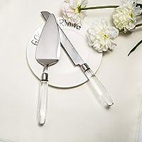 donoucls cristal mango cuchillo y pastel servidor conjunto & Soporte para tartas de acero inoxidable