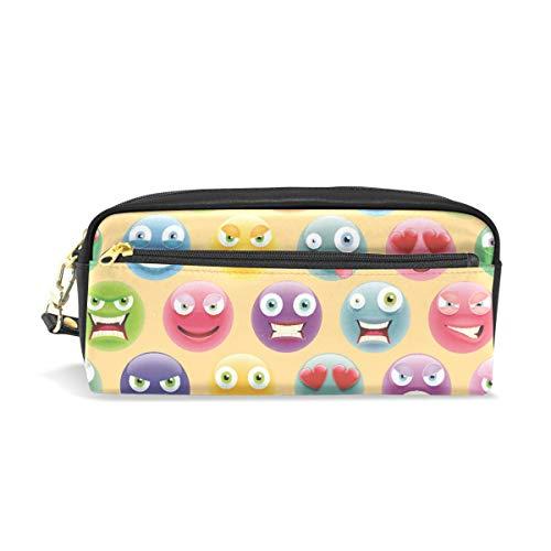 iges Emoji-Druck, Reise-Make-up-Tasche mit großer Kapazität, wasserdicht, Leder, 2 Fächer, ideales Halloween-Geschenk für Kinder Mädchen Jungen ()