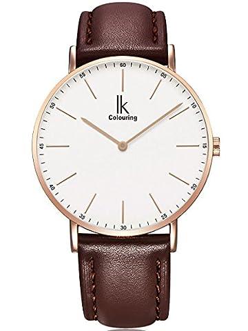 Alienwork IK Quarz Armbanduhr Ultra-flach Uhr Damen Uhren Herren Zeitloses
