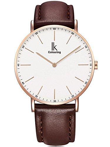 Alienwork IK Herren Damen Armbanduhr Quarz Rose-Gold mit Lederarmband braun Weiss Ultra-flach Slim-Uhr -