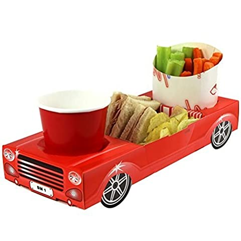 x25 Red Convertible Sports Car - Party Meal Food Trays - Snack Lunch Box Plate Tray by Mustbebonkers