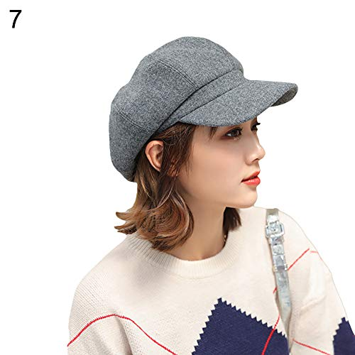 752688419 xMxDESiZ British Style Felt Solid Color Wide Brim Frauen Beret Winter Warm  Peaked Cap Hat