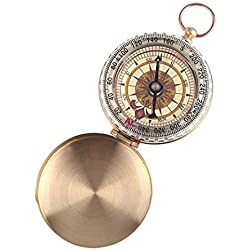 Pocket Compass in Old Gold Metal Vintage Style