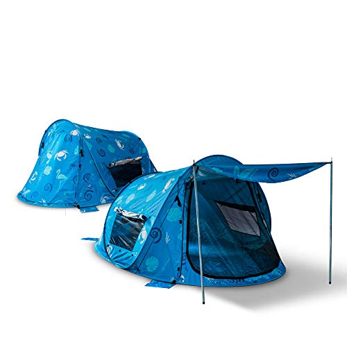 outdoorer Pop up Strandmuschel Zack Premium Sealife: UV-Schutz UV 80, Insekten- und Sichtschutz für die ganze Familie