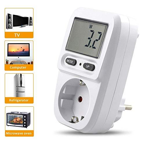 Gifort Energiekostenmessgerät Digitaler Energiekosten Messer Leistungsmessgerät Strommessgerät Elektrizitäts Analysator Standby Verbrauchsmessung mit Überlastsicherung ( Weiß ab 0,2W bis 3680W )