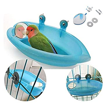 Bird Bath Tub Bowl Basin Hanging Birdbath Toy Pet Parrot Budgie Parakeet Cockatiel Cage Water Shower Food Feeder With Mirror