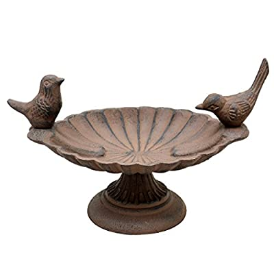 Cast Iron Love Birds Bird Bath 18cm - Welcome the Birds to your Garden this Spring! from Dibor