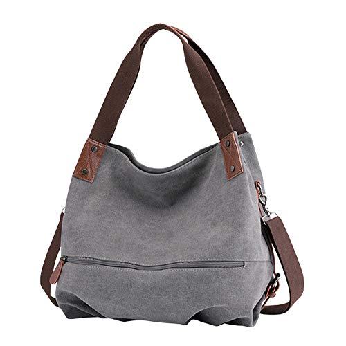 Gindoly Damen Canvas Handtasche Klein Vintage Shopper Schultertasche Henkeltasche Hobo Tasche Beuteltasche EINWEG(Grau) -