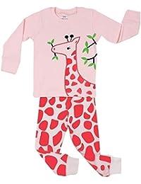 Elowel Ninas Jirafa 2 piezas Conjunto de pijama 100% algodon (6 M-8