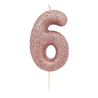 Anniversary House AHC50/6 Rose Gold Number 6 Glitter Candle